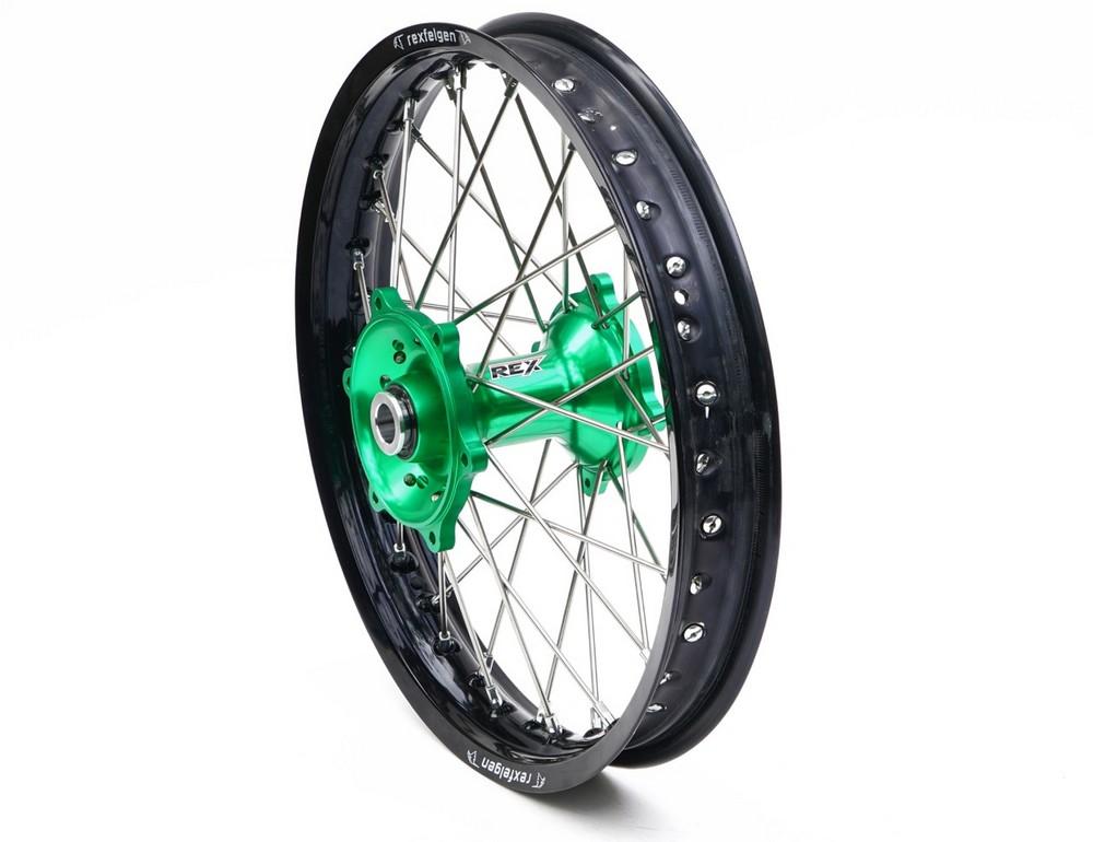 REX WHEELS レックスホイール ホイール本体 Kawasaki オフロードコンプリートリアホイール サイズ:19-2.15 ハブカラー:グリーン KX125/KXF250 03-17