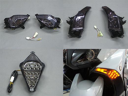 M-SOUL(ムサシ) エムソウル テールランプ LEVEL10 LED ウインカー&テールオールインセット 2014以前用 テールレンズ:スタンダードタイプ/レッド フロントL/Rレンズカラー:スモーク リアL/Rレンズカラー:ダークスモーク