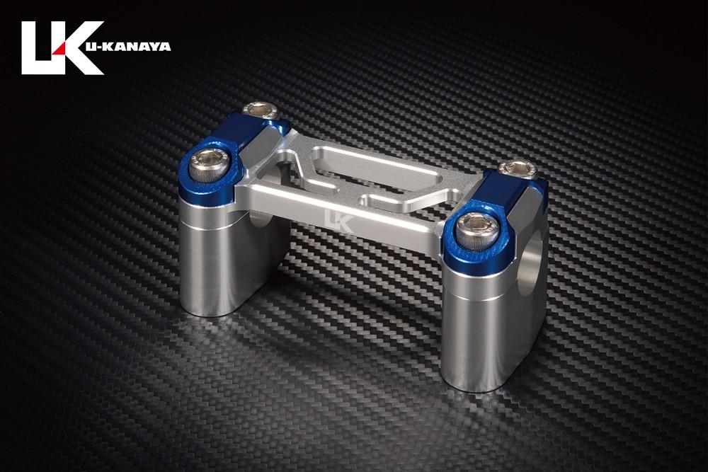 U-KANAYA ユーカナヤ ハンドルポスト アルミビレットハンドルクランプ クランプカラー:シルバー ポストトップカラー:シルバー ZRX1100 ZRX1100II ZRX1200R ZRX1200S ZRX1200ダエグ