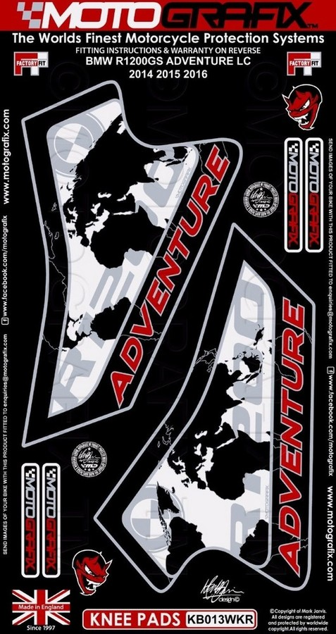 【ポイント5倍開催中!!】MOTOGRAFIX モトグラフィックス ステッカー・デカール ボディーパッド カラー:レッド R1200 GS Adventure 14-