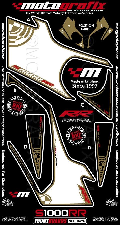 【ポイント5倍開催中!!】MOTOGRAFIX モトグラフィックス ステッカー・デカール ボディーパッド カラー:ホワイト/ゴールド/レッド S1000RR