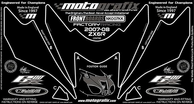 【ポイント5倍開催中!!】MOTOGRAFIX モトグラフィックス ステッカー・デカール ボディーパッド ZX-6 R 07-08 ZX-6 RR 07-08