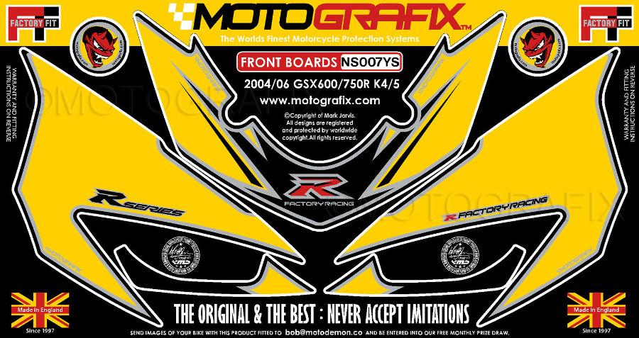 【ポイント5倍開催中!!】MOTOGRAFIX モトグラフィックス ステッカー・デカール ボディーパッド カラー:イエロー/シルバー GSX-R600(K4) GSX-R600(K5) GSX-R750(K4) GSX-R750(K5)