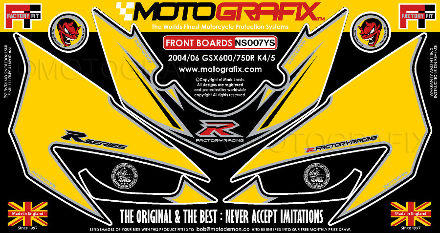 MOTOGRAFIX モトグラフィックス ステッカー・デカール ボディーパッド カラー:イエロー/シルバー GSX-R600(K4) GSX-R600(K5) GSX-R750(K4) GSX-R750(K5)