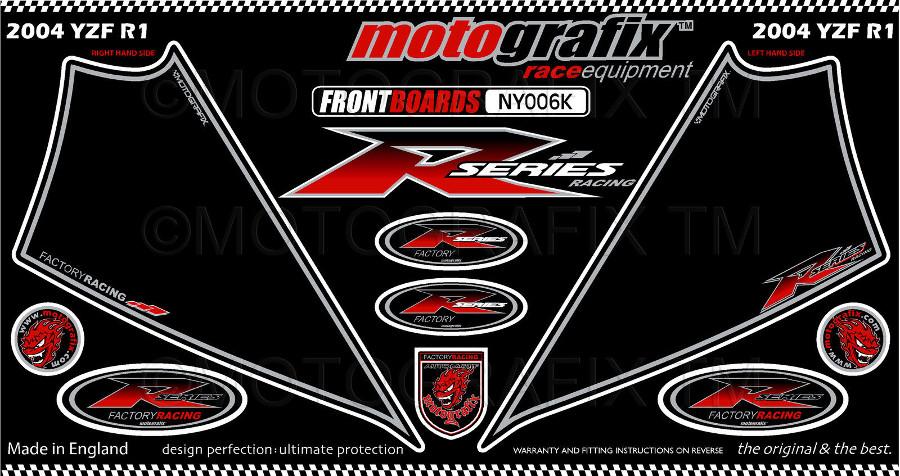 【ポイント5倍開催中!!】MOTOGRAFIX モトグラフィックス ステッカー・デカール ボディーパッド カラー:ブラック/レッド YZF-R1