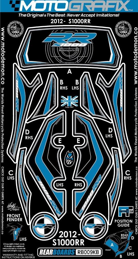 【ポイント5倍開催中!!】MOTOGRAFIX モトグラフィックス ステッカー・デカール ボディーパッド カラー:ブラック/ブルー S1000RR 12-14