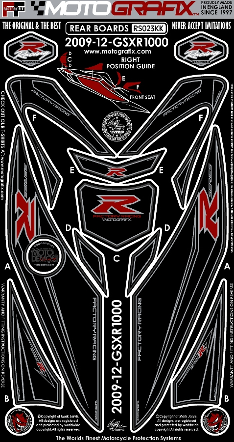 MOTOGRAFIX モトグラフィックス ステッカー・デカール ボディーパッド GSX-R1000(12-)