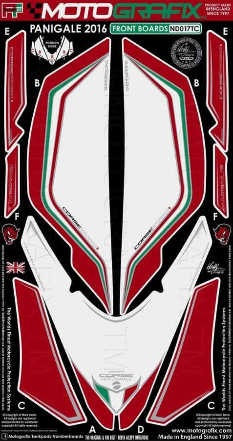 MOTOGRAFIX モトグラフィックス ステッカー・デカール ボディーパッド カラー:ホワイト/トリコローレ PANIGALE 1299 PANIGALE 1299 S PANIGALE 959 PANIGALE 959 S