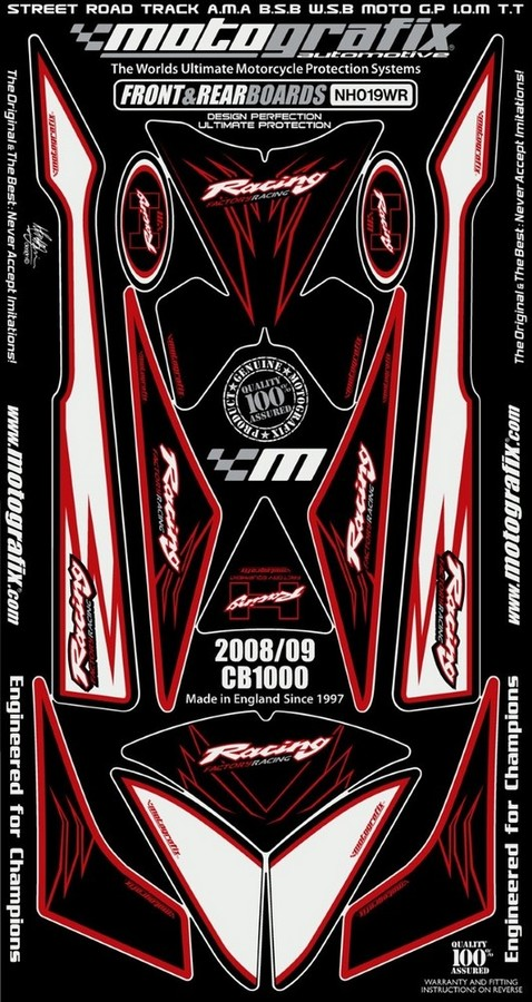 MOTOGRAFIX モトグラフィックス ステッカー・デカール ボディーパッド カラー:ホワイト/レッド CB1000R