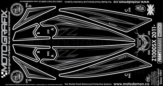 MOTOGRAFIX モトグラフィックス ステッカー・デカール ボディーパッド フロント Z1000SX 11-