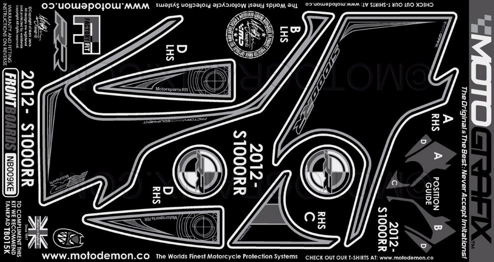 【ポイント5倍開催中!!】MOTOGRAFIX モトグラフィックス ステッカー・デカール ボディーパッド カラー:ブラック(KE) S1000RR