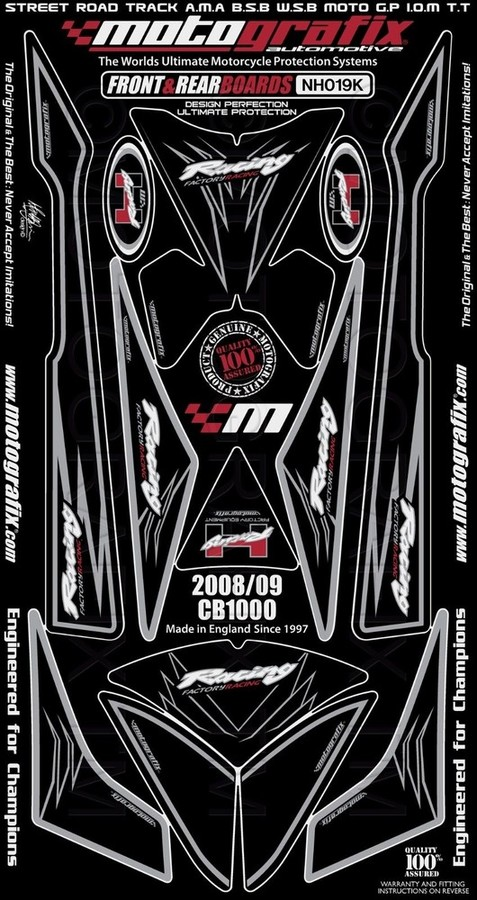 【ポイント5倍開催中!!】MOTOGRAFIX モトグラフィックス ステッカー・デカール ボディーパッド カラー:ブラック CB1000R