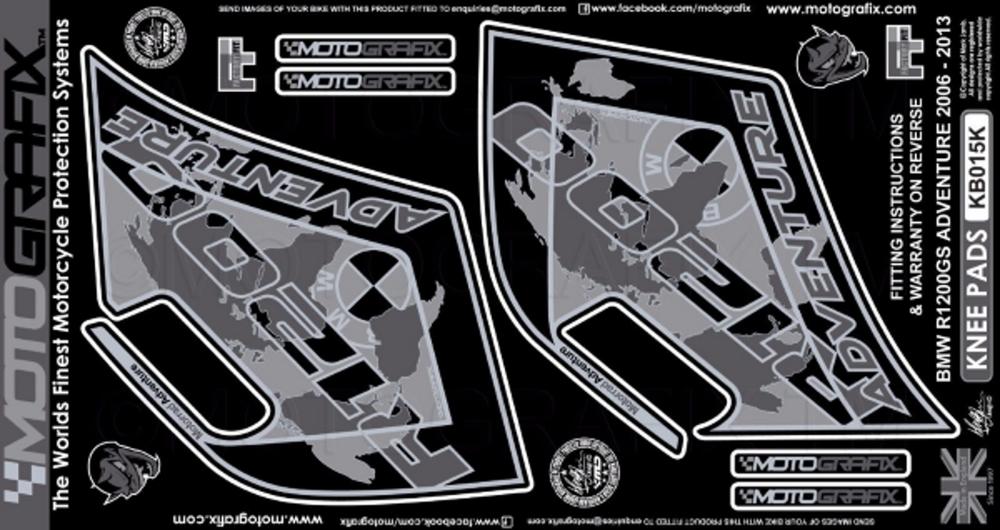 【ポイント5倍開催中!!】MOTOGRAFIX モトグラフィックス ステッカー・デカール ボディーパッド カラー:ブラック R1200GS Adventure