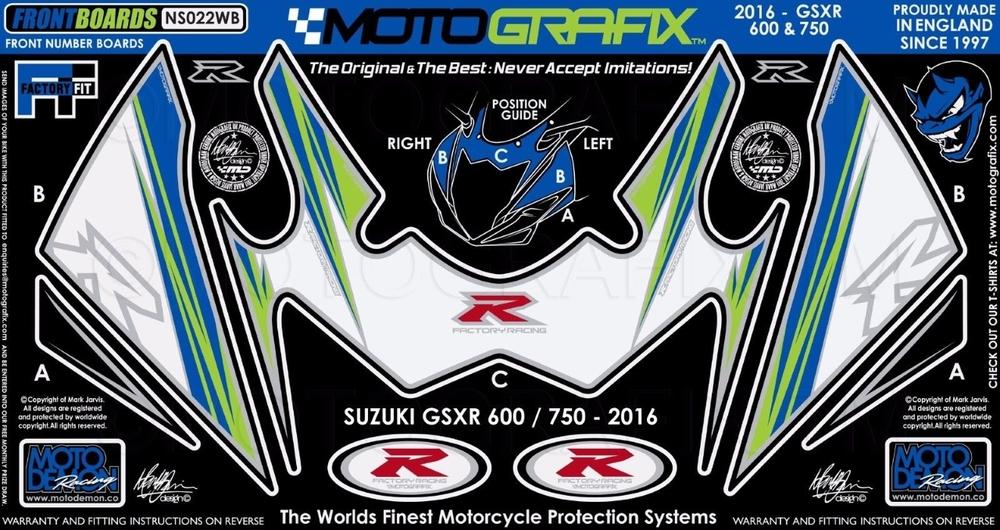 【ポイント5倍開催中!!】MOTOGRAFIX モトグラフィックス ステッカー・デカール ボディーパッド 使用箇所:フロント GSX-R600 16- GSX-R750 16-