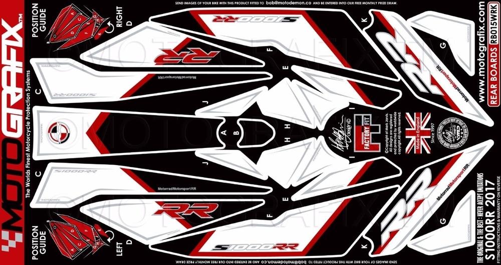 MOTOGRAFIX モトグラフィックス ステッカー・デカール ボディーパッド カラー:ホワイト/レッド/ブラック S1000RR 17-