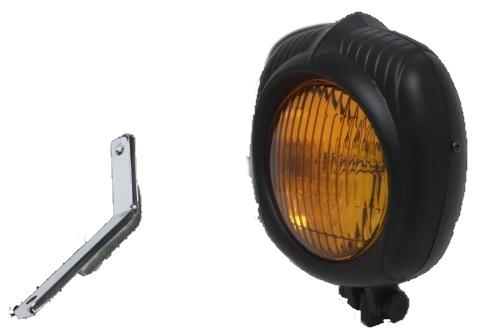 ガレージT&F ヘッドライト本体・ライトリム/ケース エレクトロライン54レプリカヘッドライト&ライトステーキット 仕上げ:ブラック/レンズカラー:イエロー スティード400