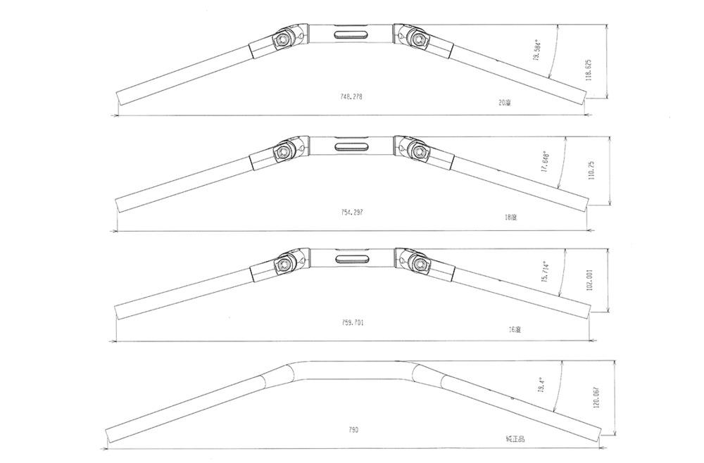 AELLAアエラアルミ可変ハンドルバーハンドルカラー:ホワイト付属スペーサーカラー:ピンク(特色)BRUTALE800(2016-)