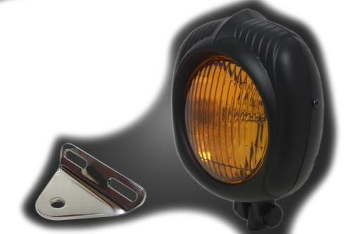 ガレージT&F ヘッドライト本体・ライトリム/ケース エレクトロライン54レプリカヘッドライト&ライトステーキット 本体仕上げ:ブラック/レンズカラー:イエロー マグナ250、マグナ250S