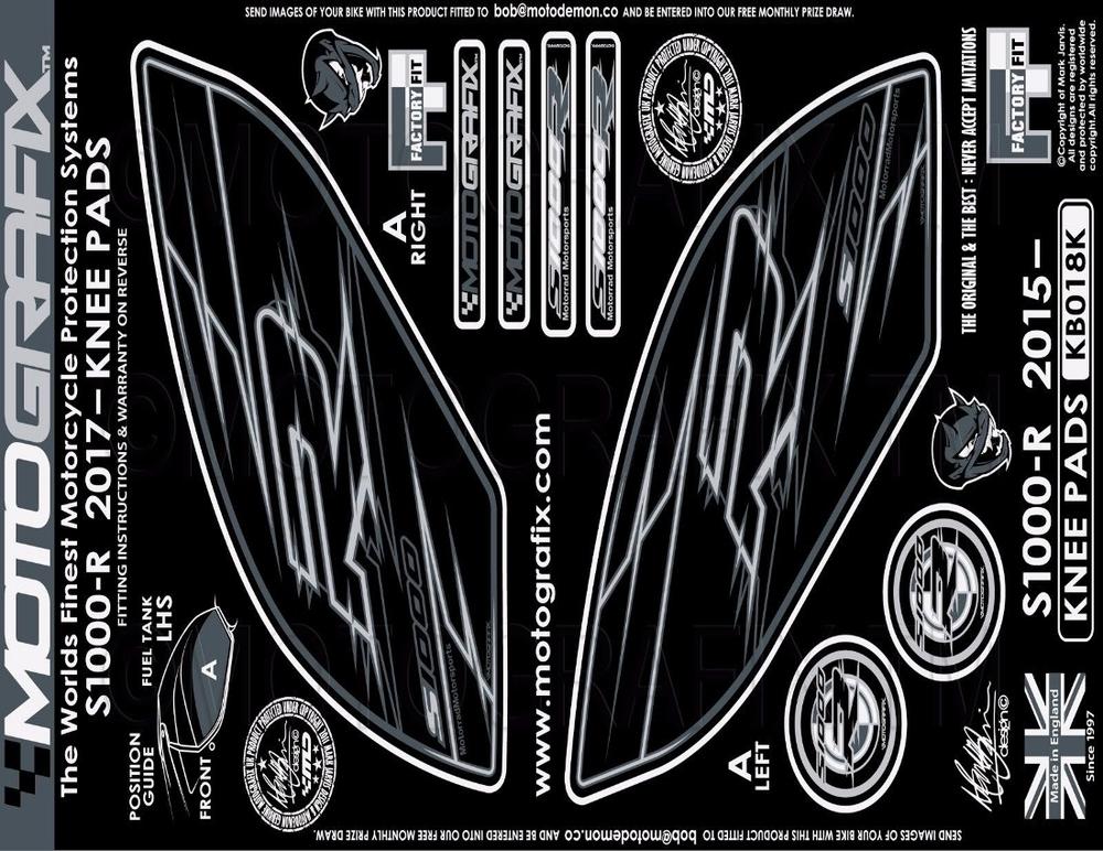 MOTOGRAFIX モトグラフィックス ステッカー・デカール ボディパッド カラー:KNEE BLACK S1000R(17-)