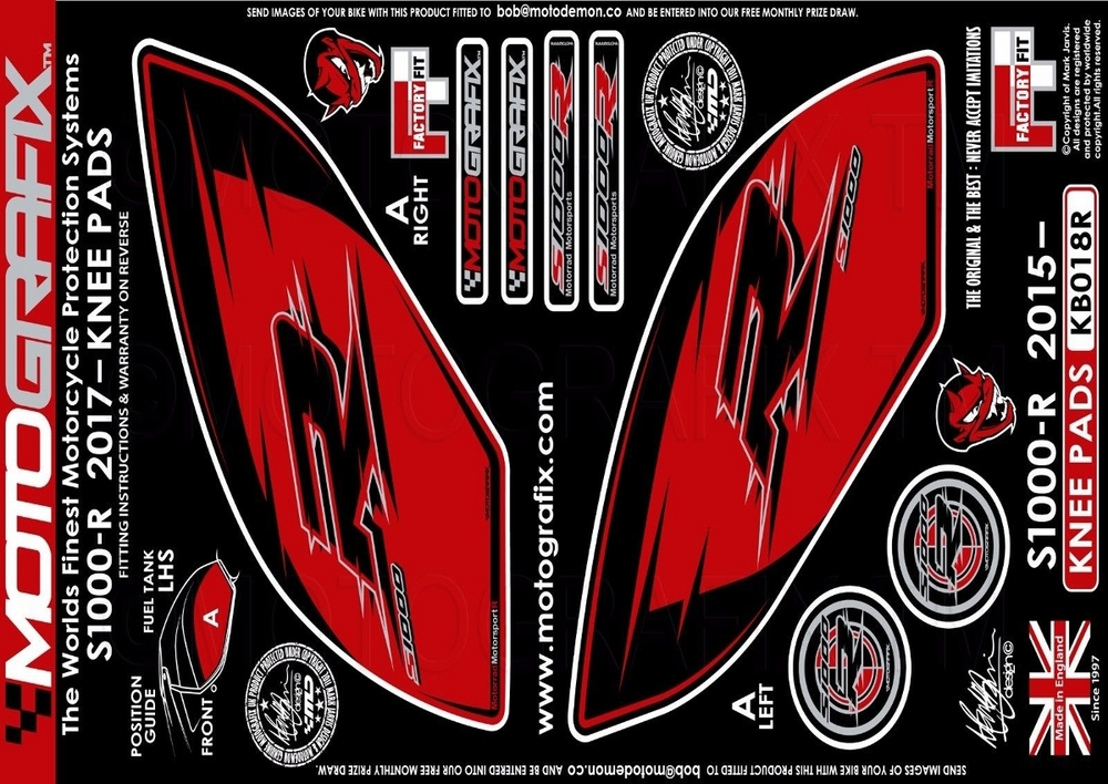 【ポイント5倍開催中!!】MOTOGRAFIX モトグラフィックス ステッカー・デカール ボディーパッド カラー:KNEE RED S1000R(17-)