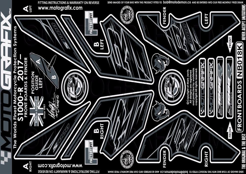 【ポイント5倍開催中!!】MOTOGRAFIX モトグラフィックス ステッカー・デカール ボディーパッド カラー:FRONT BLACK S1000R(17-)