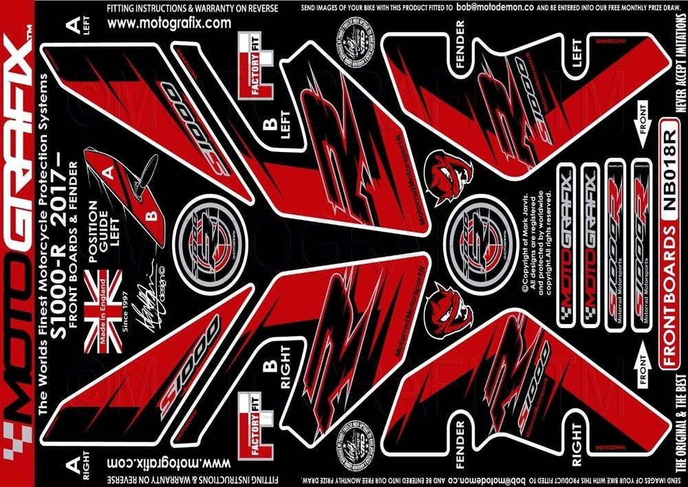 【ポイント5倍開催中!!】MOTOGRAFIX モトグラフィックス ステッカー・デカール ボディーパッド カラー:FRONT RED S1000R(17-)