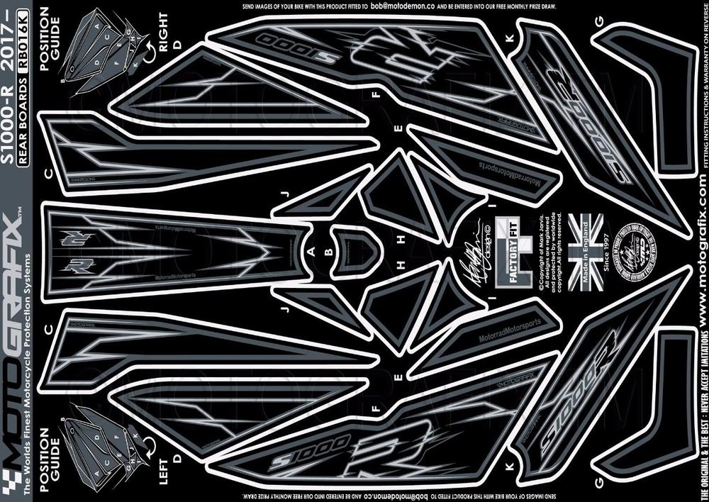 【ポイント5倍開催中!!】MOTOGRAFIX モトグラフィックス ステッカー・デカール ボディーパッド カラー:REAR BLACK S1000R(17-)