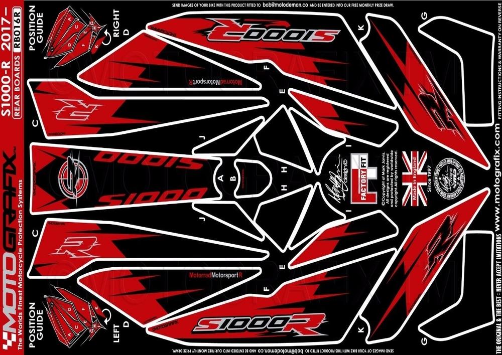 【ポイント5倍開催中!!】MOTOGRAFIX モトグラフィックス ステッカー・デカール ボディーパッド カラー:REAR RED S1000R(17-)