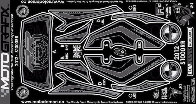 【ポイント5倍開催中!!】MOTOGRAFIX モトグラフィックス ステッカー・デカール ボディーパッド カラー:ブラック/グレー S1000RR 12-14