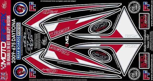 【ポイント5倍開催中!!】MOTOGRAFIX モトグラフィックス ステッカー・デカール ボディーパッド カラー:レッド/ホワイト DAYTONA675 09-