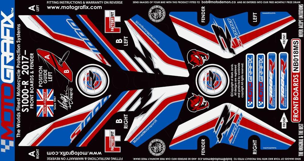 MOTOGRAFIX モトグラフィックス ステッカー・デカール ボディパッド カラー:トリコロール/黒文字 S1000R(17-)