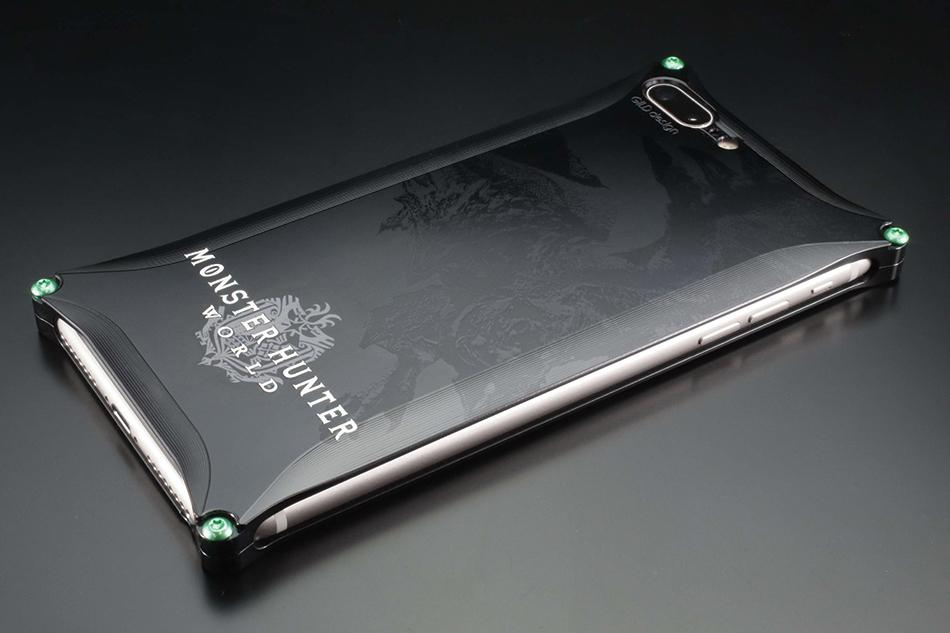 【本物新品保証】 GILD design ギルドデザイン スマートフォンケース MONSTER HUNTER:WORLD Solid for iPhone8Plus/iPhone7Plus [モンスターハンター] カラー:ブラック, 足助町 38469077