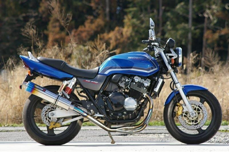 MotoGear モトギア フルエキゾーストマフラー 手曲げフルエキゾーストシステムSTDタイプ サイレンサーレス CB400スーパーフォア