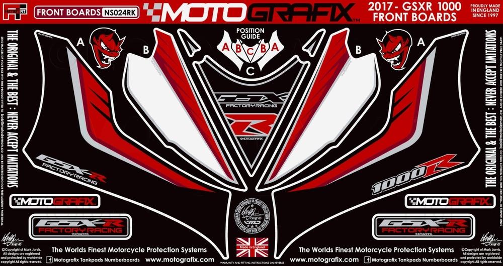 MOTOGRAFIX モトグラフィックス ステッカー・デカール ボディーパッド カラー:ブラック/ホワイト/レッド/メタリック シルバー(RK) GSX-R1000 17-18 GSX-R1000R 17-18
