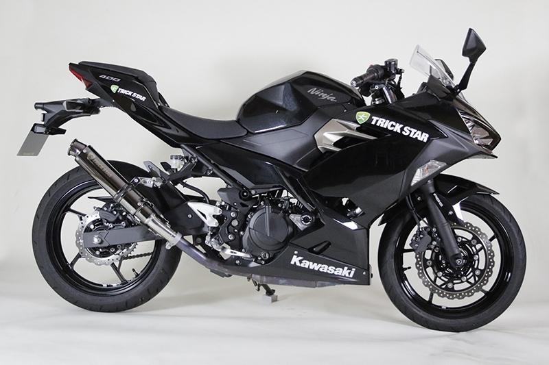 TRICK STAR トリックスター レーシングスリップオンマフラー ブラックメッキ ニンジャ400 (2014-)