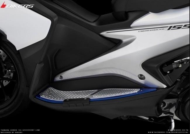 BIKERS バイカーズ フットペグ・ステップ・フロアボード フットプレート エキストラ プロテクター付き カラー:Green フットグリップカラー:Chrome AEROX 155