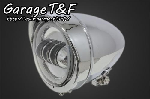 ガレージT&F ヘッドライト本体・ライトリム/ケース 4.5インチロケットライト プロジェクターLED仕様 カラー:メッキ タイプ:リング付き