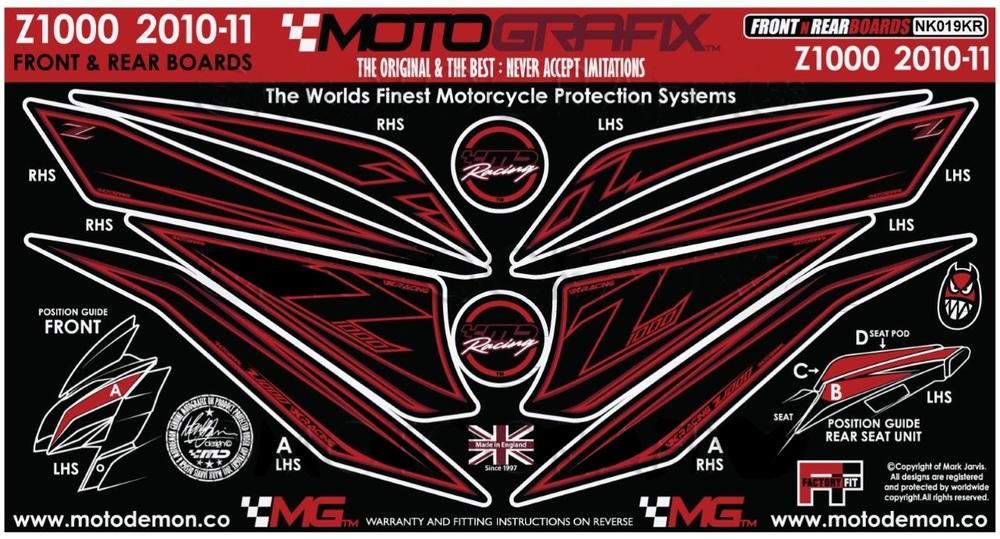 【ポイント5倍開催中!!】MOTOGRAFIX モトグラフィックス ステッカー・デカール ボディーパッド Z1000 10 (ZRT00D) Z1000 11 (ZRT00D)