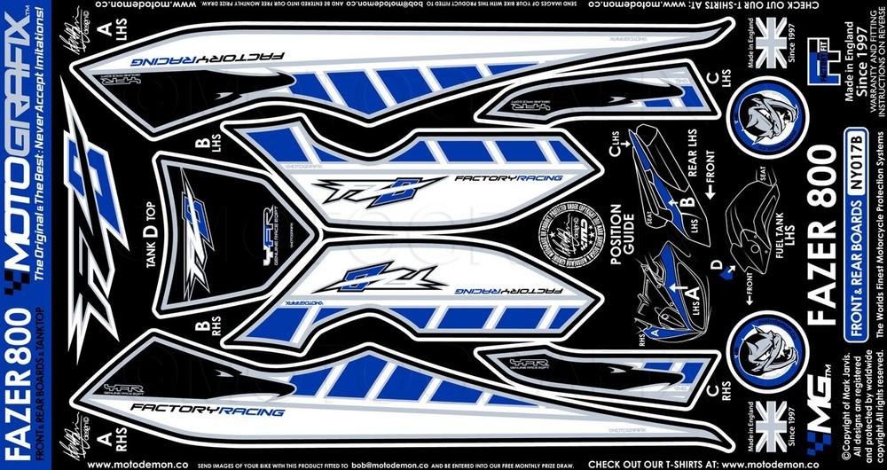 【ポイント5倍開催中!!】MOTOGRAFIX モトグラフィックス ステッカー・デカール ボディーパッド カラー:ブルー FZ8 (Fazer800) 10-