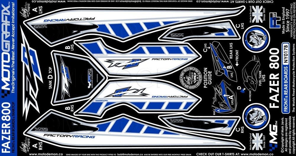 MOTOGRAFIX モトグラフィックス ステッカー・デカール ボディパッド カラー:ブルー FZ8 (Fazer800) 10-