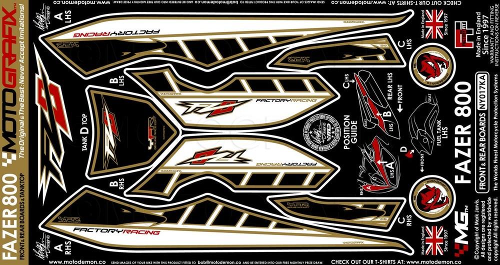 【ポイント5倍開催中!!】MOTOGRAFIX モトグラフィックス ステッカー・デカール ボディーパッド カラー:ブラック/ゴールド FZ8 (Fazer800) 10-