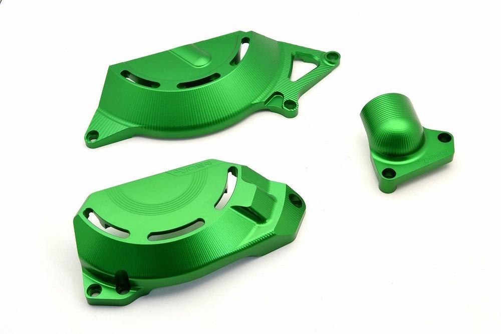 リデア RIDEA アルミ削り出しエンジンカバー セット カラー:グリーン ニンジャ250 ニンジャ400 (2014-)