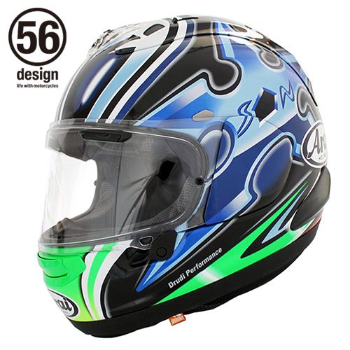 56デザイン フルフェイスヘルメット Arai x 56design RX-7X Nakano Shuriken Green [アールエックス セブンエックス ナカノ 中野 シュリケン グリーン] ヘルメット サイズ:XS(54)