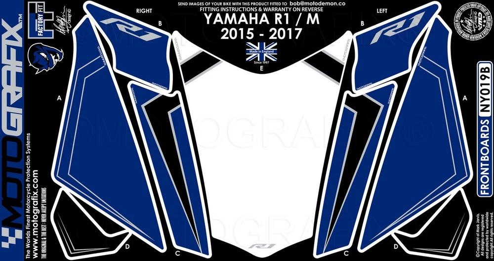 【ポイント5倍開催中!!】MOTOGRAFIX モトグラフィックス ステッカー・デカール ボディーパッド カラー:ブルー YZF-R1 15-17 YZF-R1M 15-17