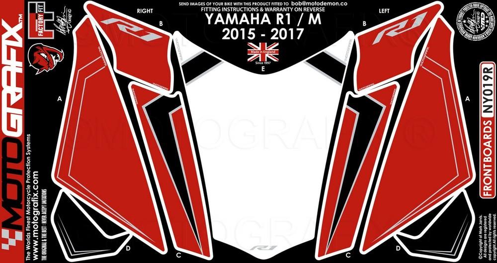【ポイント5倍開催中!!】MOTOGRAFIX モトグラフィックス ステッカー・デカール ボディーパッド カラー:レッド YZF-R1 15-17 YZF-R1M 15-17