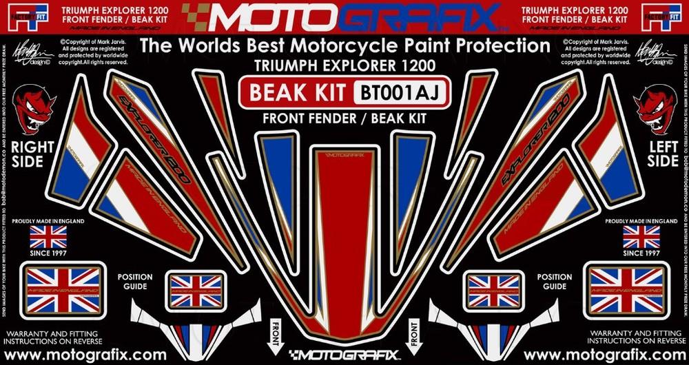 【ポイント5倍開催中!!】MOTOGRAFIX モトグラフィックス ステッカー・デカール ボディーパッド カラー:ゴールド/ユニオンジャック TIGER1200 EXPLORER(12-) TIGER1200 XCA TIGER1200 XRT