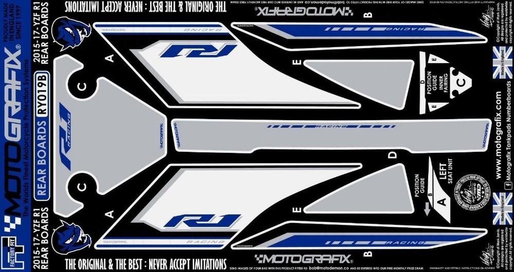 【ポイント5倍開催中!!】MOTOGRAFIX モトグラフィックス ステッカー・デカール ボディーパッド カラー:ブルー/ホワイト/グレー YZF-R1(15-17) YZF-R1M(15-17)