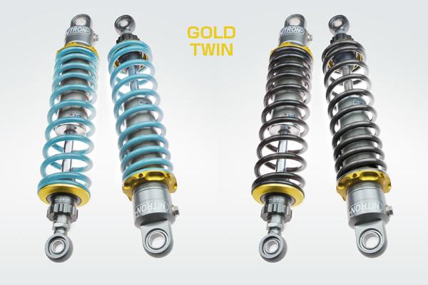 【在庫あり】NITRON ナイトロン リアサスペンションツインショック TWIN R1シリーズ スプリングカラー:ターゴイズ ベースカラー:ゴールド VT750S