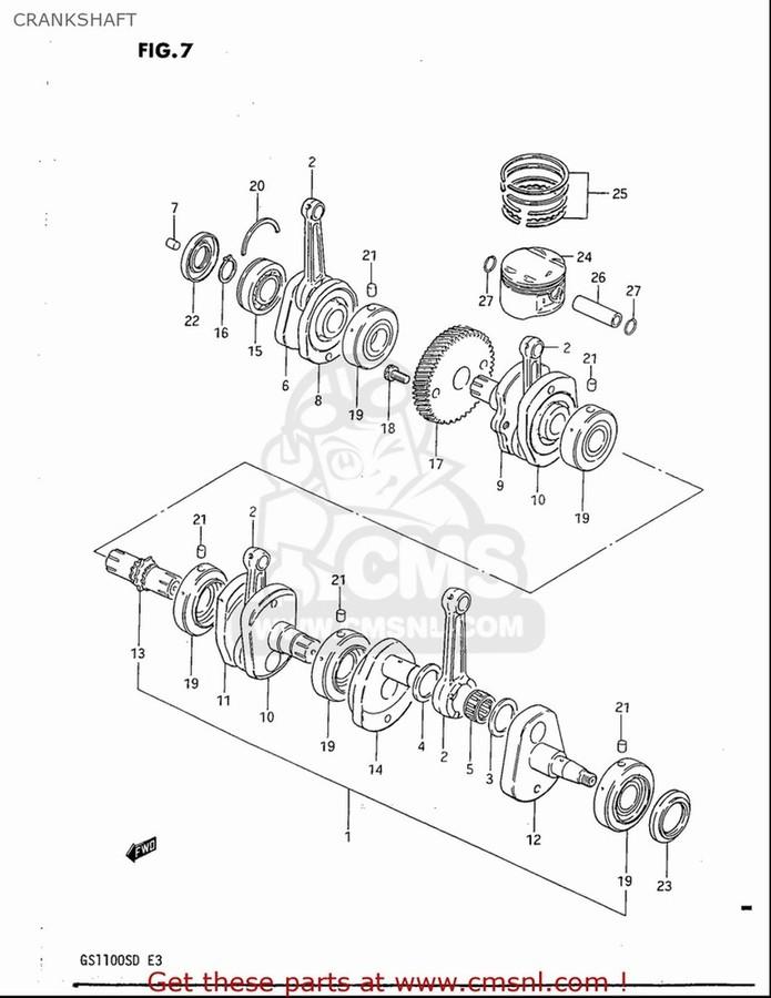 CMS シーエムエス ピストン・ピストン周辺パーツ PISTON (72.00MM) GS1100S 1983 (D) USA (E03)
