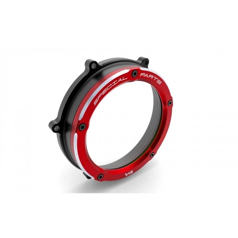 DUCABIKE ドゥカバイク エンジンカバー クリアークラッチカバー カラー:ブラック/レッド PANIGALE V4 PANIGALE V4 S PANIGALE V4 SPECIALE
